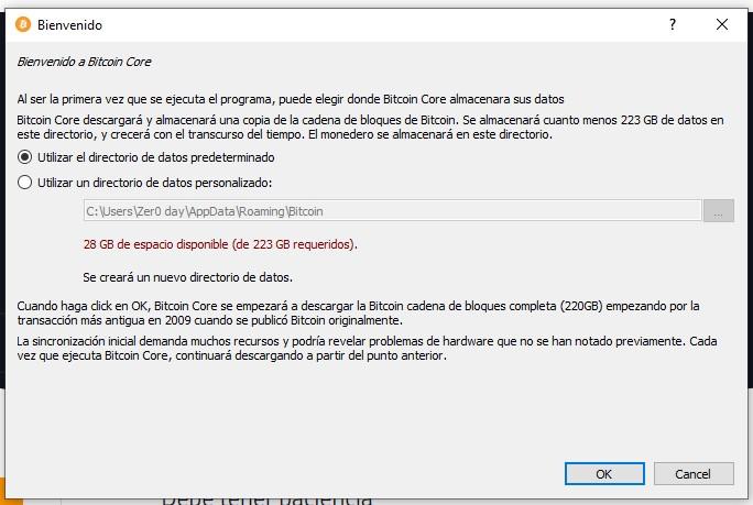 Bitcoin Core asignar lugar de almacenamiento